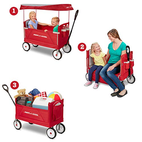51g9h0AvmkL - Radio Flyer 3-In-1 EZ Folding Wagon with Canopy for kids and cargo
