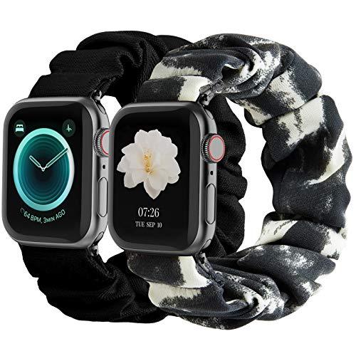 2 Bandas marmol/neg scrunchie Apple watch 6/5/4/3/2/1/SE s/m