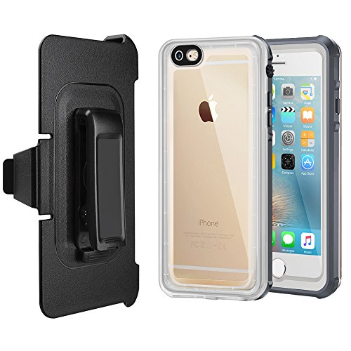 iPhone 6/6S Waterproof Case, Eonfine iPhone 6/6s Clear Protective Case IP68 With Touch ID Belt Clip Ultra Slim Shockproof Case for iPhone 6/6s 4.7 inch(Gray+Transparent)