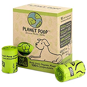 Compostable Dog Poop Bags, Plant-Based Poop Bags for Dogs, Unscented Extra-Long with Handles 9 x 16 Inches Thick Leak Proof Doggy Waste Bag Refills Highest USA Rated D6400 Supports Doggie & Pet Rescue 19