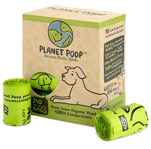 PLANET POOP - Compostable Biodegradable Dog Poop Bags Unscented - Cornstarch Earth Friendly - Highest Rated ASTM D6400 - Large with Handles, Durable Leak Proof Pet Waste Bags - Supports Dog Rescue
