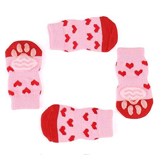 LLNstore Dog Socks Pet Cotton Socks Anti-Slip Outdoor Indoor Wear Grip Socks for Dogs Warm Supplies, Paw Protection 4PCS Set