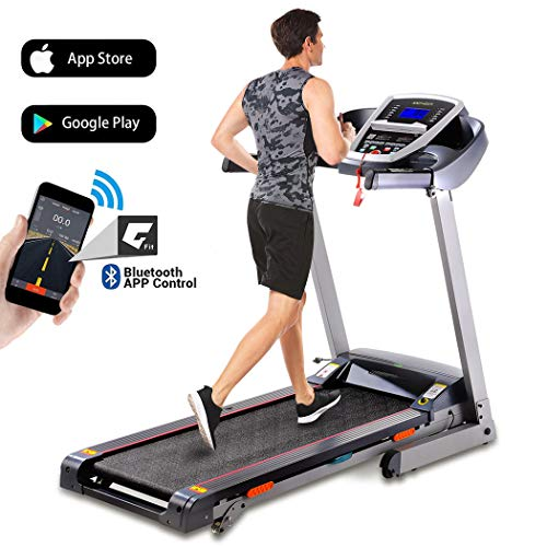ANCHEER Folding Treadmill, 3.0HP Electric Treadmill with Bluetooth, LCD and Pulse Monitor, Motorized Running Machine with Smartphone APP Control for Home Office Gym Exercise (Gray, X-Large)