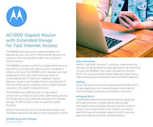 MOTOROLA AC1900 Router for Charter Spectrum, Smart Wi-Fi Gigabit Router with Power Boost, Model MR1900-CH by Motorola (Image #6)