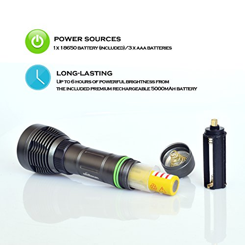 Aidisun 3000 k High Lumens XML- L2 LED Expert Diving Flashlight Rechargeable Torch Snorkeling Tactical Handheld Flash Light for Professional Scuba Dive Underwater Camping Working Hunting Fishing by Aidisun (Image #6)