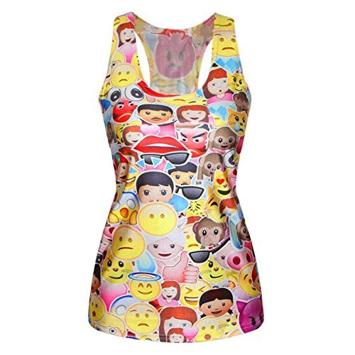 New Fashion Summer 2015 Women T Shirt Emoji 3D Vest Camisole Cheap Clothes Tank Tops M