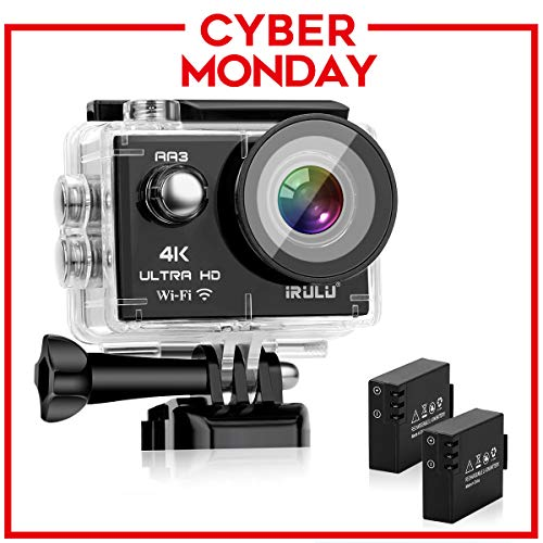 """iRULU Action Camera 4K Sony Sensor 16MP Wi-Fi Sports Camera with 2""""4X Zoom Underwater Waterproof Camera 170°Wide Angle with 2 Batteries and Abundant Mounting Accessory Kits - Free Carrying Case"""