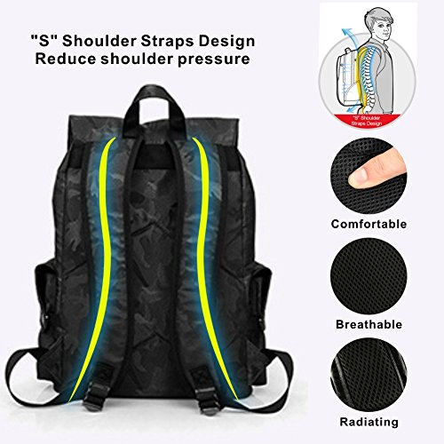 Laptop Outdoor Backpack, Travel Hiking& Camping Waterproof Pack with Bluetooth Anti-Loss Device, Casual Large College School Daypack, Shoulder Book Bags Back Fits 15'' Laptop & Tablets (Black Camo) by HiOrange (Image #8)