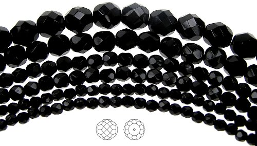 10mm (41) Jet black, Czech Fire Polished Round Faceted Glass Beads, 16 inch - Jet Swarovski Vintage