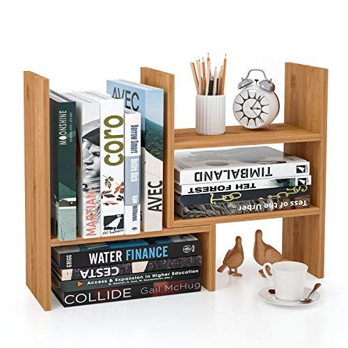 Homfa Bamboo Desk Storage Organizer Adjustable Desktop Display Shelf Rack Multipurpose Bookshelf for Office Kitchen by Homfa