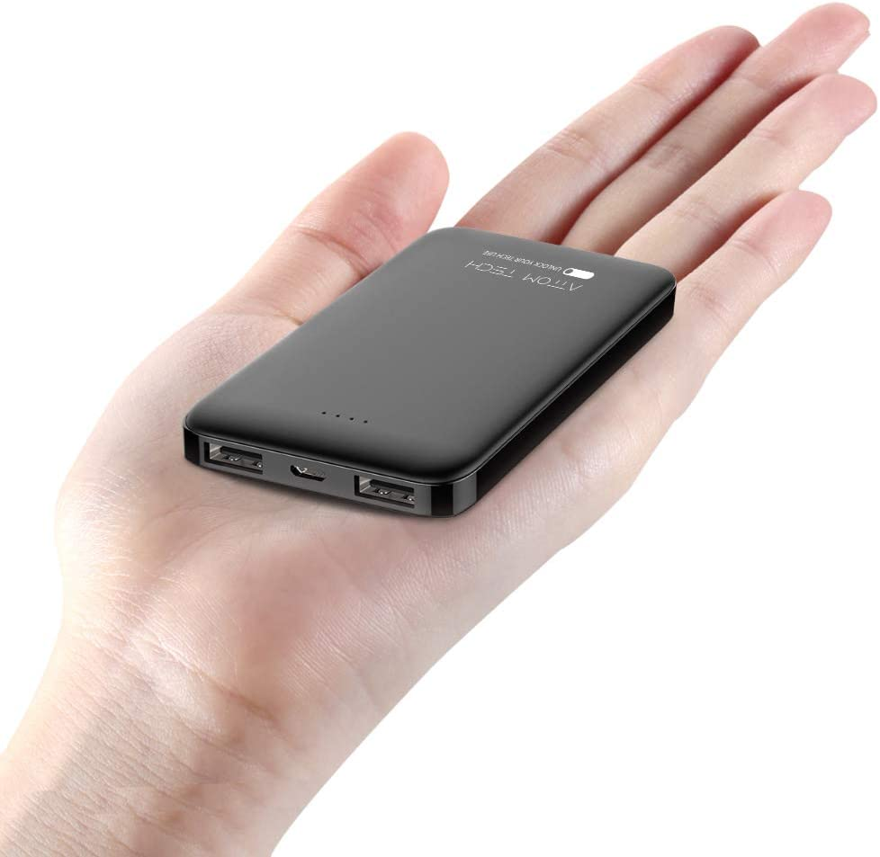 Attom Tech Ultra Compact 5000-mah Dual USB Outputs Super Slim Power Bank Ultra Small, Pocket Size Mini Portable Charger External Phone Battery Pack Small,Emergency Phone Power Backup