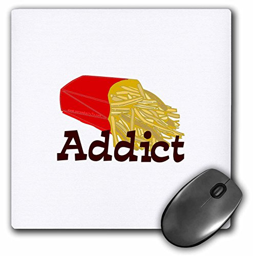 3dRose LLC 8 x 8 x 0.25 Inches French Fry Addict Mouse Pad (mp_12497_1) (Fry Rose)