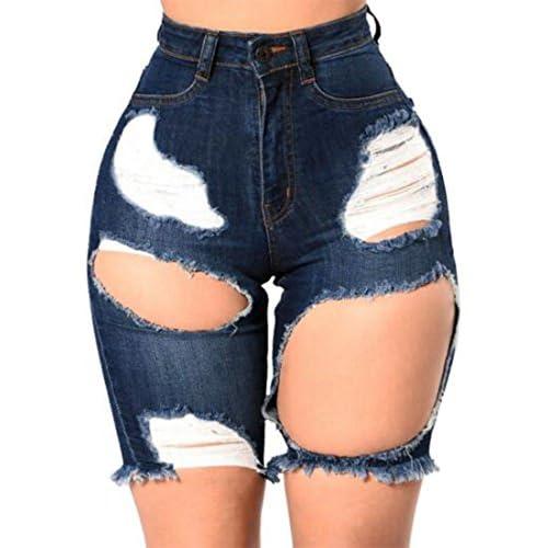 Discount Cromoncent Womens High Waist Stretchy Destroy Fadad Knee Lenght Denim Shorts Jeans fYnAi1l5