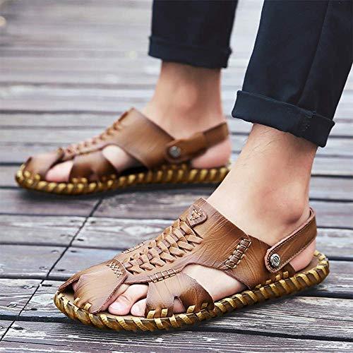 Per Pelle Pantofola Sandali 39 In Punta Baotou Uomo Scarpe Comoda Spiaggia Calzature Chiusa Esterno Sconosciuto Da D'estate Da Khaki 4zEgw4q