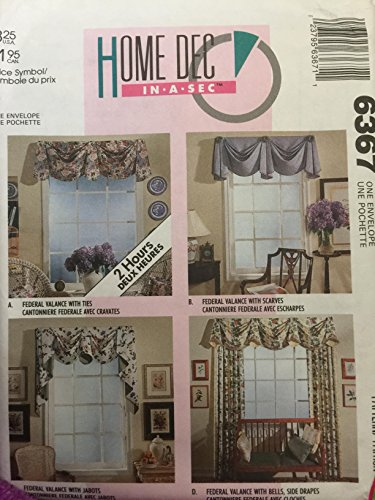 McCall's 6367 Home Dec in-a-sec Curtains/Valance with for sale  Delivered anywhere in USA