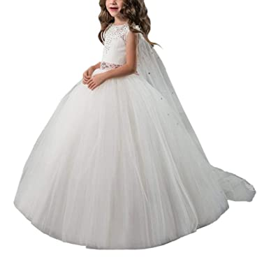 84afd500647 Gzcdress Ivory Flower Girls Dresses 7-16 Lace Applique Luxury Princess Ball  Gowns for Little