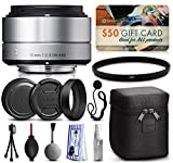 Sigma 30mm F2.8 DN Silver Lens for Sony E-Mount NEX (33S965) includes UV Ultraviolet Filter + Deluxe Cleaning Kit + Air Dust Blower + Cap Keeper Prints