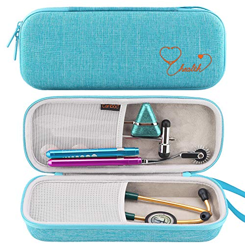 Canboc Stethoscope Carrying Case for 3M Littmann Classic III/Cardiology IV Stethoscope - Extra Storage Taylor Percussion Reflex Hammer, Reusable Medical LED Penlight, Turquoise (The Best Stethoscope For Nurses)