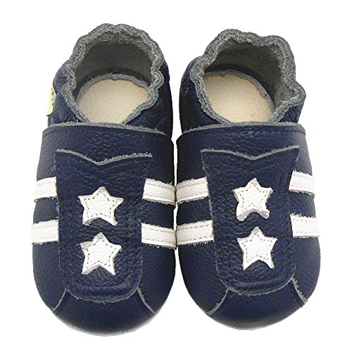 Sayoyo Baby Stars Soft Sole Leather Infant Toddler Prewalker Shoes(24-36 months,Navy blue)