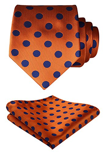 SetSense Men's Polka Dot Tie Handkerchief Jacquard Woven Classic Men's Necktie & Pocket Square Set Orange / Blue - Orange Polka Dot