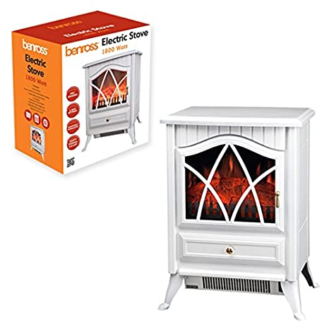 Benross Cast Iron Effect Fire Electric Stove, 1800 W, Black Benross Group 44230