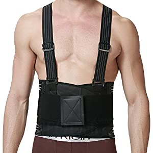 Back Brace with Suspenders for Men, Support Belt for Lower Back Pain - Adjustable - Removable Shoulder Straps - NEOtech Care Brand - Black Color - Size XXL