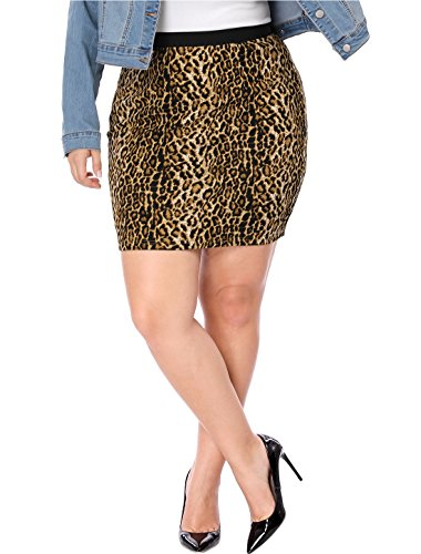 Agnes Orinda Women's Plus Size Leopard Prints Elastic Waist Pencil Skirt 3X Brown (Skirt Stretch Leopard)