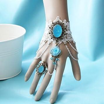 baipipi Exquisite Light Blue Flores ANH?nger Lolita Punta de pulsera con anillo F š ¹ r mujeres: Amazon.es: Deportes y aire libre