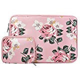 Mosiso Water Repellent Lycra Sleeve Bag Cover for 13-13.3 inch Laptop with Small Case for MacBook Charger, Rose Pink