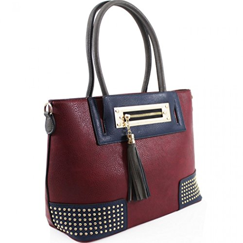 LeahWard Women's Large Size Handbags Quality Tassel Tote Shoulder Bags Bag For Women School 0010 Burgundy