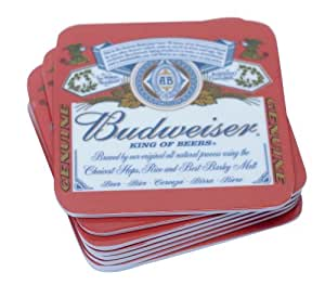 Housewares International Novelty Budweiser Drink and Beverage Melamine Coasters, Set of 8