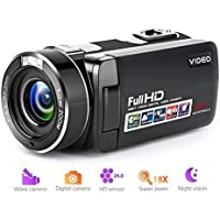 Video Camera Camcorder Full HD Digital Camera 1080p 18X...