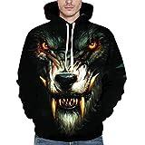 DBHAWK_men hoodie Unisex 3D Printed Animal Pullover Long Sleeve Hooded Sweatshirt Tops Outwear (L, Black)