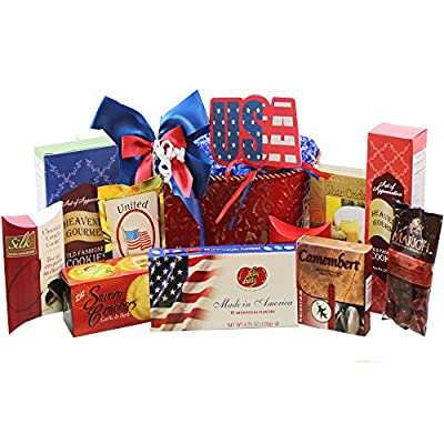 America The Beautiful Patriotic Gourmet Food and Snacks Gift Basket
