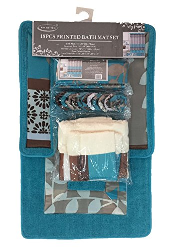ALL FOR YOU 18 Piece Printed Banded Shower Curtain Bath Set 1 Bath Mat 1 Contour 1 Shower Curtain 12 Matching Fabric Shower Rings 3 Pcs Matching Towel Set 100% Polyester (Turquoise) ()