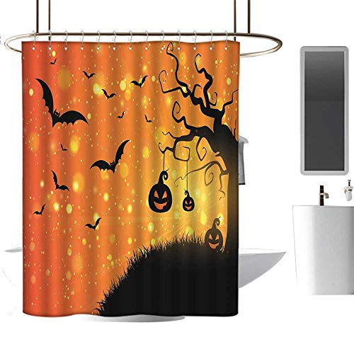 MKOK Transparent Shower Curtain lining54 x78 Halloween,Magical Fantastic Evil Night Icons Swirled Branches Haunted Forest Hill,Orange Yellow Black,Eco-Friendly,Bathroom -