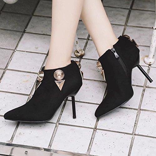 AIYOUMEI Damen Spitz Zehen Stiletto Stiefeletten mit Reißverschluss und Metalldekoration Herbst Kurzschaft Stiefel R0xpYYPUk1