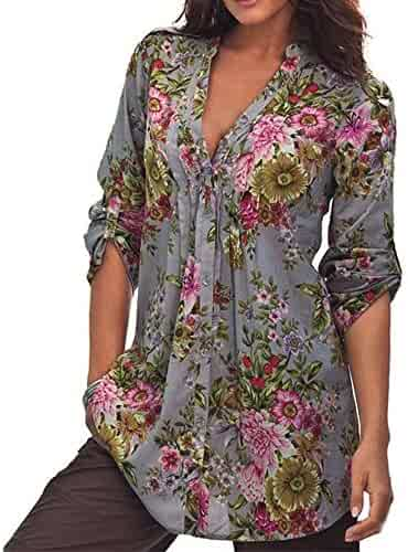 1b58266e8bda2 Zaidern Women Tops Plus Size Vintage Floral Print V-Neck Tunic Blouse  Women s Fashion Plus