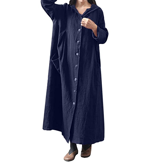 JiaMeng Vestido Mujer Oto?o Invierno Elegante Moda con Capucha y Mangas largas Vestido Largo