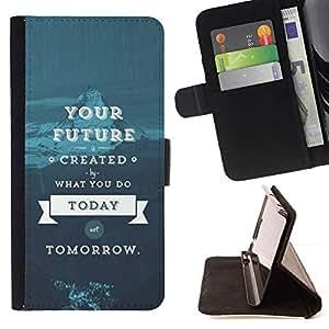 For HTC One Mini 2 M8 MINI Case , Citar texto azul- la tarjeta de Crédito Slots PU Funda de cuero Monedero caso cubierta de piel