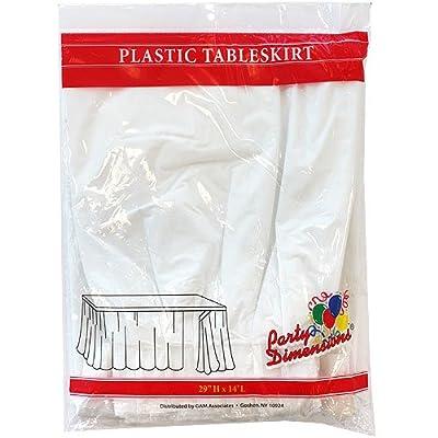 "Plastic Table Skirt White 29""H X 14'L: Kitchen & Dining"