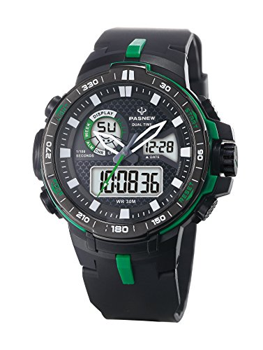 Teens Boys Girls Sport Analog Digital Dual Time Water Resistant Wrist Watches Backlight Alarm Stopwatch (Black)