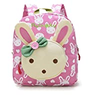 Rabbit Animals Kids Book Backpack Baby Girls School Bag Pink