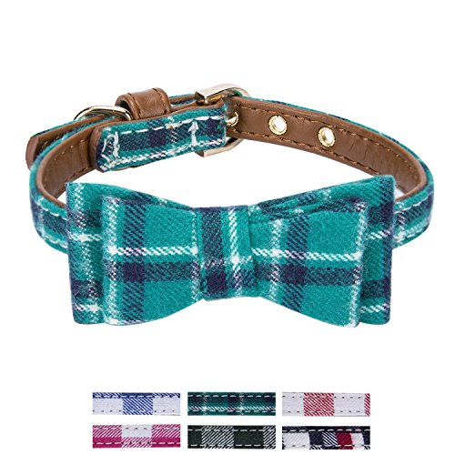 mall Dog and Cat Collar with Cute Plaid Bowtie. Adjustable 5 Holes to Also Fit Puppy and Kitten. Quality PU Leather and Durable Polyester (Bowtie-Peacock Green Plaid) ()