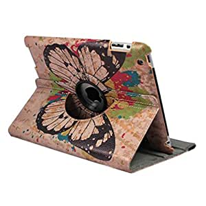 Field4U 360 Degrees Rotating Stand PU Leather Flip Case Cover for iPad 2 3 4 Blue Butterfly with a LED Light Keychain Gift (Butterfly)