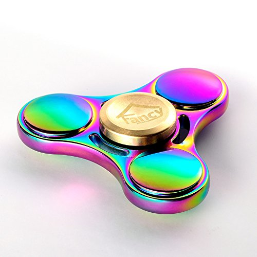Fancy Home Titanium EDC Quiet Tri Fidget Hand Spinner 5-8 Minutes Anxiety and Stress Relief Toy for ADD ADHD Colorful Rainbow Blue by Fancy Home (Image #7)