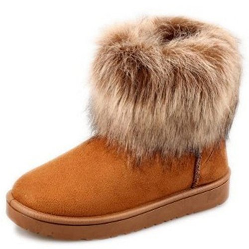 Faux Flat Brown Shoes 6 Fur Bootie Black Snow Ankle Short Boots UK COOLCEPT Fashion Women xXq01R