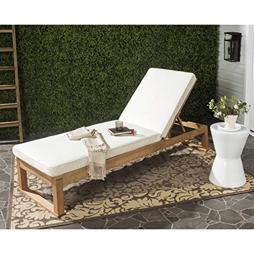 Safavieh Outdoor Collection Solano Teak Brown and Beige Sun lounger