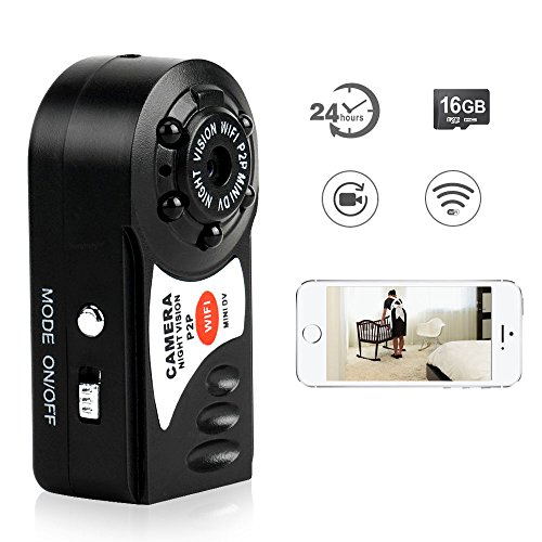 Mini Dvr Portable Pocket (Toughsty 16GB Mini Wifi Remote Access DV Camcorder Pocket Handheld Camera for iPhone Android APP)