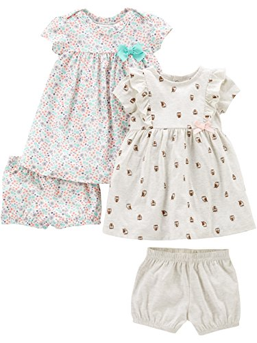 Simple Joys by Carter's Girls' 2-Pack Short-Sleeve and Sleeveless Dress Sets, Floral/Gray Bird, 0-3 Months